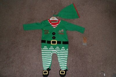 GORGEOUS UNISEX BABIES CHRISTMAS ELF ALL-IN-ONE/& ELF HAT AGE 9-12 MONTH*BNWT*NEW
