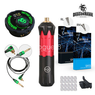 Dragonhawk EGO Motor Rotary Pen Tattoo Machine Tattoo Set Kit Top Power Supply V