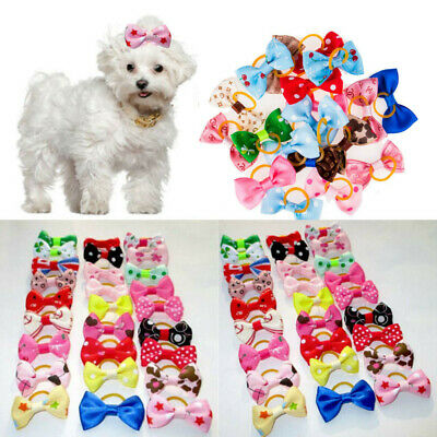 New 20Pcs Dog Cat Hair Bows W/Rubber Bands Pet Bowknots Grooming Accessories