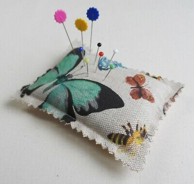 Handmade Pin Cushion. Linen look cotton fabric with Butterflies.