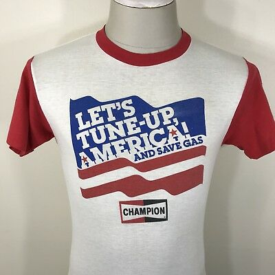 VTG 70s Champion Spark Plugs SAVE GAS SHORTAGE T Shirt S Fit Tee 80s Tee