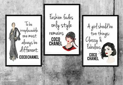 Coco Chanel Quote Prints Set of 3 A4 Poster Prints Vintage Inspirational