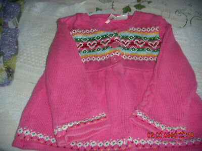 infant irls pink knitted coat from gap.size 18/24mths