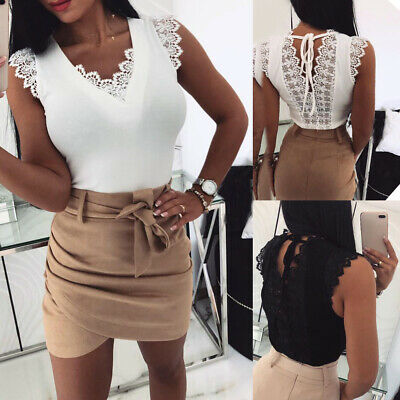 Casual Ladies Bandage Top Tshirt With Women's Lace Backless Blouse  V-neck