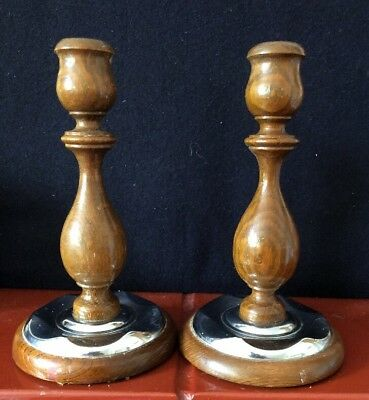 Pair Vintage Wood & Chrome Candlesticks