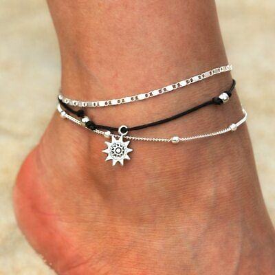 Vintage Sun Anklet Jewellery Ankle Bracelet Rope Multi-Layer 925 Sterling Silver