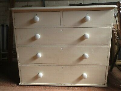 Antique white painted pine chest of drawers for collection - Reading