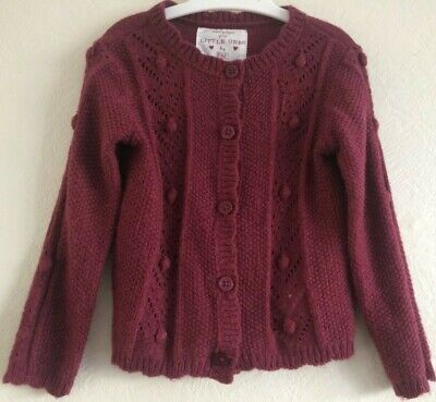 Toddlers knitted patterned cardigan, plum, 18-24 month