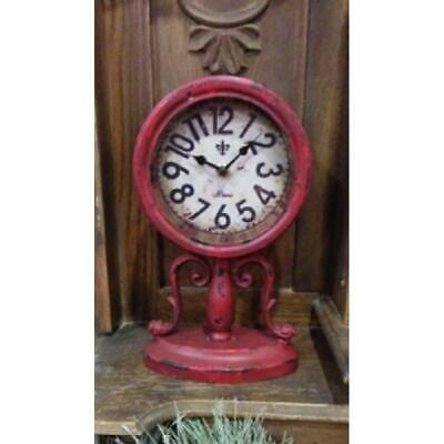 98e4364ad8fbb New Country PRIMITIVE RED DISTRESSED CLOCK Rustic Battery Antique Style  Mantel