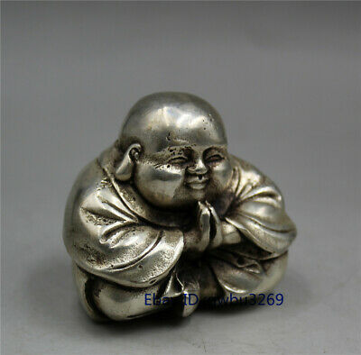 Collection Chinese Tibet silver carving Maitreya Buddha Statues