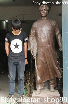 """78"""" Chinese Bronze Revolution Red Army Great leader Mao Zedong Chairman Statue"""