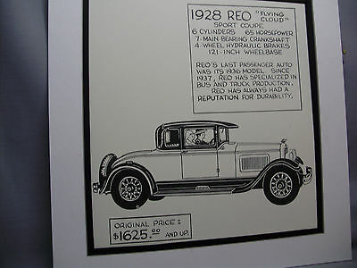 1928 REO SPEED Wagon Auto Pen Ink Hand Drawn Poster