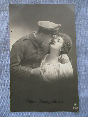 German WWI RPPC - Rather Risque View - Soldier Taking Liberties