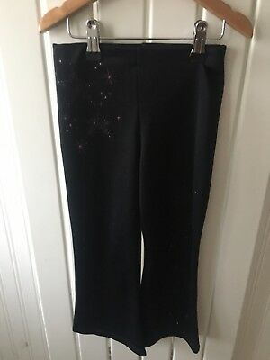 Little Girl's Clothes 4-5 Yrs - Black Glitter Detail Bootflare Leggings/Trousers