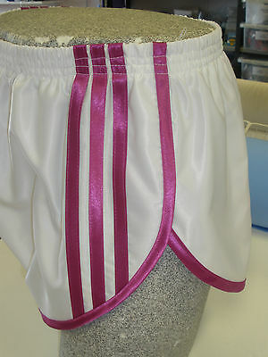 Retro Nylon Satin Sprinter SHORTS - 4XL, Weiß - Pink