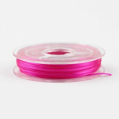 Bobine de fil Nylon Elastique 0,8mm Fuchsia environ 10m creation bijoux