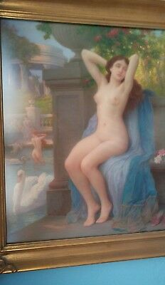 Rare Antique Jules Scalbert Painting of Lovely Young Nude Woman Girl 1800s Large