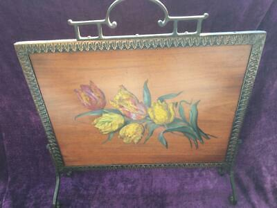 Vintage Wooden Firescreen - Copper Framed