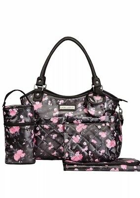 Laura Ashley 6 in 1 Floral Diaper Bag Tote Black & Pink NEW WITH TAGS