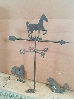 Vintage brass 3 piece weather vane roof top lightning rod horse,whale&rooster