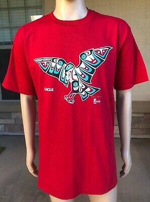 Vintage 80s Odin Lonning Native American Eagle T Shirt Jerzees USA Made Size XL