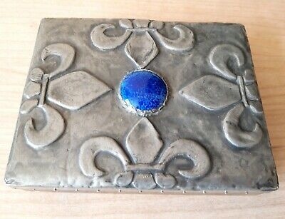 Stunning Arts & Crafts Pewter Box With Lovely Central Blue Stone - Ruskin ?