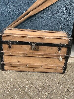 Lovely Antique Sea Chest Wooden Storage Blanket Box / Trunk Pine