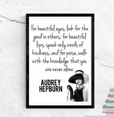 AUDREY HEPBURN QUOTE Print A4 Poster Vintage Style Fashion Inspirational  Print