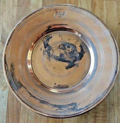"Rare Antique Copper Plate, Dated 1787, Gorgeous Polish:  11.5"" dia, 1.25"" deep"