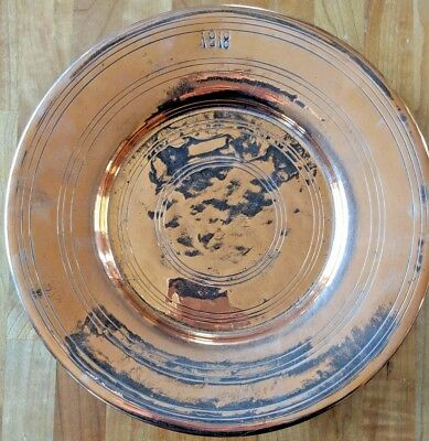 "Rare Antique Copper Plate, Dated 1818, Gorgeous Polish:  11.5"" dia, 1.25"" deep"