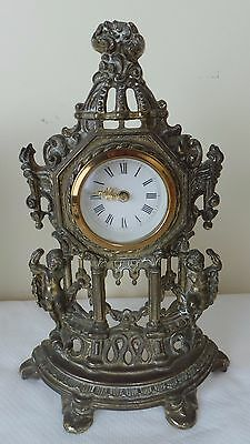 German Brass Plate Mantle Clock With Cherubs