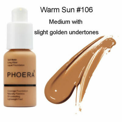PHOERA Foundation Full Coverage Flawless Long Wear Soft Matte Oil Control #106US