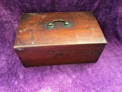 Vintage Wooden Writing Box - Brass Handled Dovetail Jointed