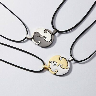 Couple Women Men Cat Circle Splice Leather Chain Pendant Necklace Jewelry Gifts