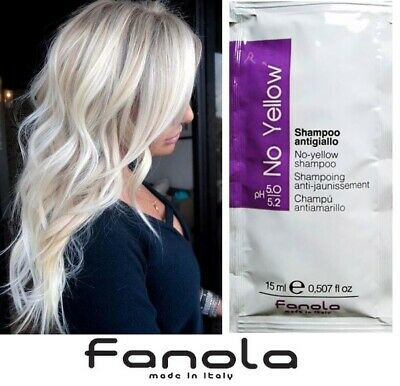 Fanola No Yellow Shampoo with Violet Pigment 15ml Sample Sachet, Yellow Hair Fix