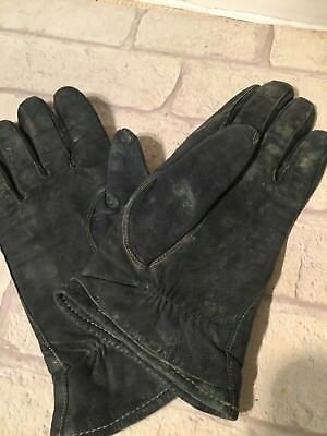 Vintage Ladies Gloves  Black Dark Blue?  Leather