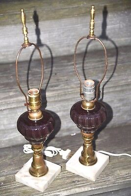 2 Antique Purple Glass Lamps Marble Base Whale Oil Electric Light Vintage BRASS