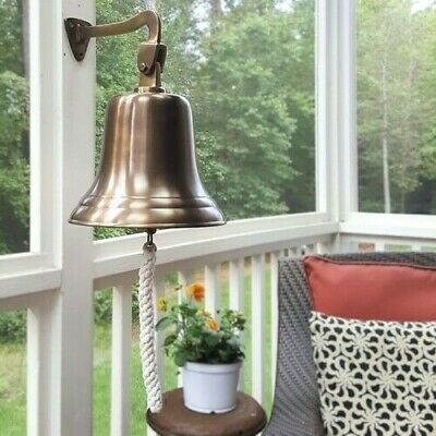 12 Inch Antiqued Brass Wall Bell~BIG 34 POUNDS!