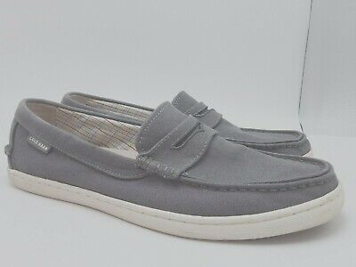 95af33b31b3 Cole Haan Pinch Maine Classic Mens Gray Canvas Slipon Loafers Shoes Sz 10M