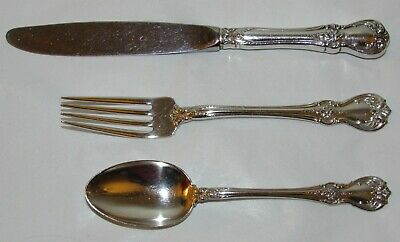 Vintage Towle Old Master Sterling Silver 3 Piece Child's Set Spoon Fork Knife