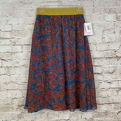 3039815647 LuLaRoe Lola XS Skirt Blue Gold Yellow Burgundy Floral Flowers Flare NWT