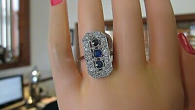 Amazing True Antique 1920'S Art Deco 2.15 Carat Diamond Sapphire 18 K Gold Ring