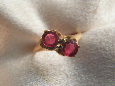ANTIQUE ART DECO OSTBY BARTON 10K gf DOUBLE RED STONE RING W RARE HALLMARK
