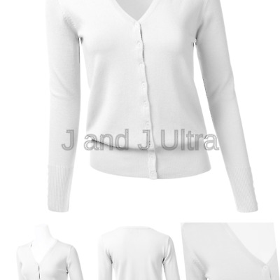 97a00d3acad0aa FLORIA Women's Button Down V-Neck Long Sleeve Soft Knit Cardigan Sweater (S-