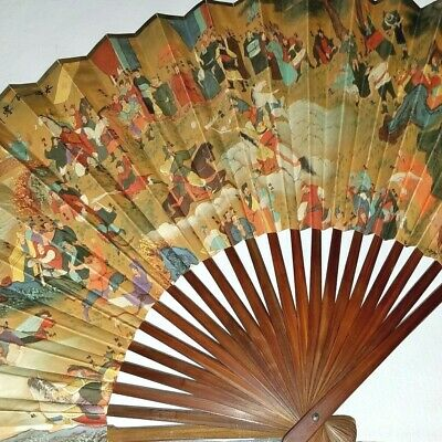 Fine Rare Old Chinese Fan 1000 Face Gods Clouds Painting Calligraphy Inscription