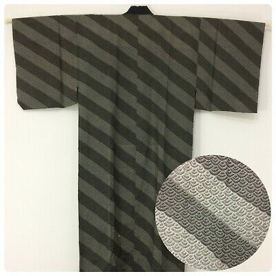 Japanese men's juban for kimono, dressing gown, wool, medium (AE2567)