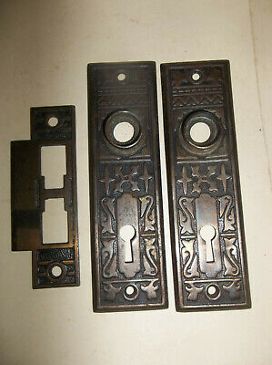 Antique Brass Door Hardware, Strike Plate And Two Back Plates