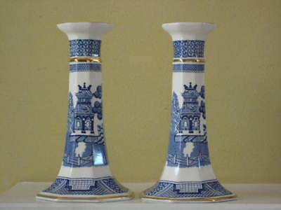 Wedgwood WILLOW Candlestick Pair Vintage for Danbury Mint 6-1/2""