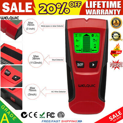 WELQUIC 3in-1 WALL STUD CENTER FINDER METAL SENSOR AC LIVE WIRE DETECTOR SCANNER