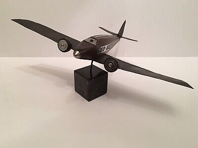 Original 1930's French Art Deco Civilian Model Aircraft Aeroplane - Wood / Brass